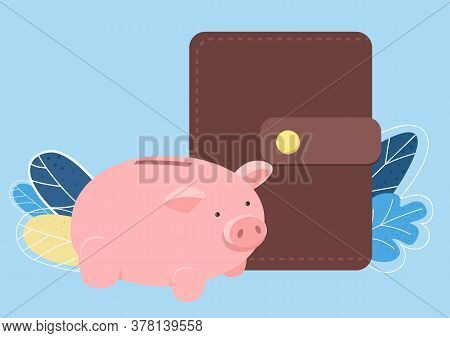 Piggy Bank And Wallet Flat Color Vector Object. Pink Penny Bank And Money Wallet. Funds And Savings.
