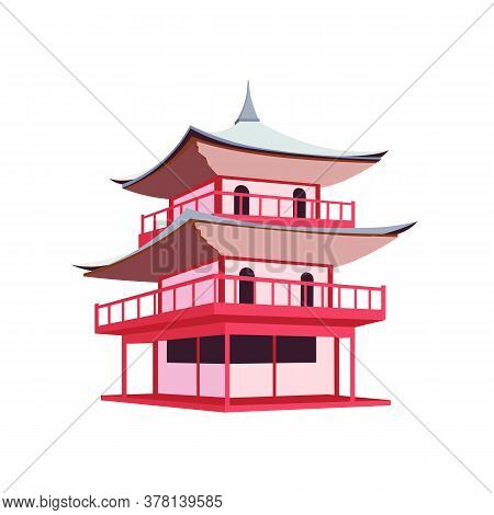 Japanese Pagoda Flat Color Vector Object. Traditional Buildings In Japan And China. Asian Culture An