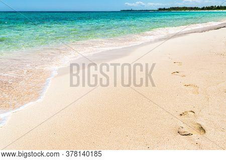 Footprints On The Tropical Xcacel Beach On The Caribbean Sea Coast. Beautiful Tropical Landscape, Qu