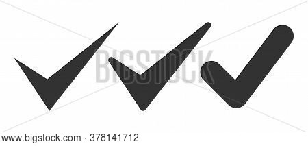 Vector Check Mark Icons Set Isolated On White Background. Vector Illustration Eps 10