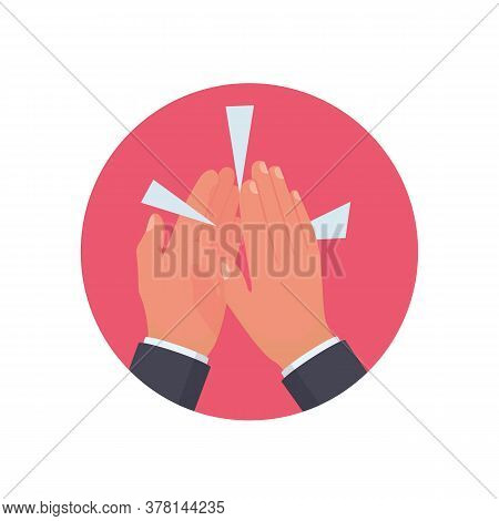 Clapping Hands Flat Icon. Applause Clap Hands. Vector Illustration Catoon Design. Isolated On Backgr