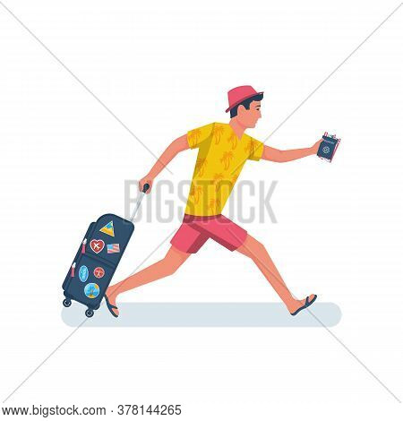 Man Hurry On Vacation. Young Male In A Beach Dress With Suitcase Runs On Plane. Discovery Of Travel.