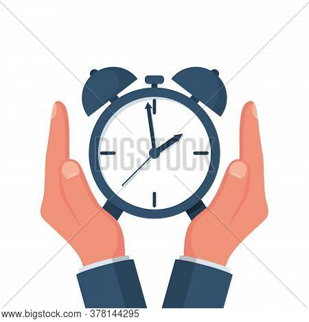 Protect Time. Save Time Concept. Businessman In Hands Is Holding A Watch, Alarm Clock. Vector Illust