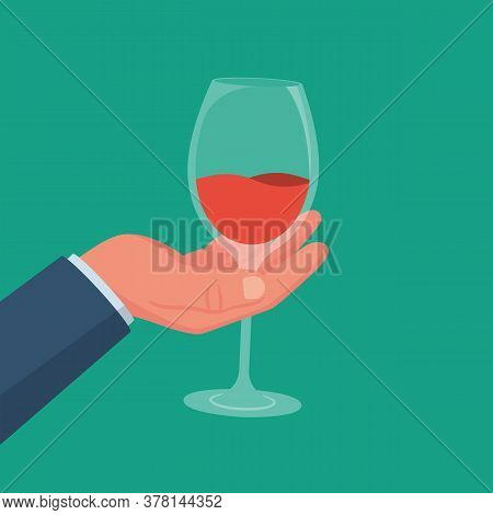 Wineglass With A Drink In Hand. Alcoholic Drinks. Vector Illustration Flat Design. Isolated On White