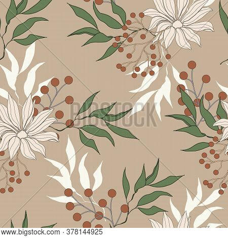 Autumn Seamless Pattern With Big Flowers. Vintage Texture Of Gerbera And Chamomile On A Brown Backgr