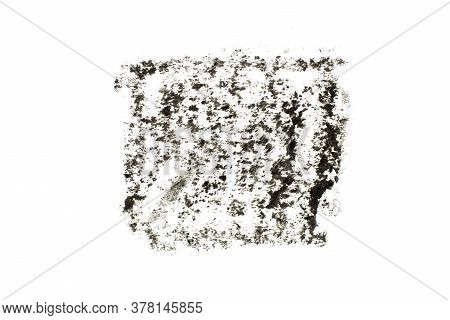 Black Color Oil Pastel Drawing In Square Or Rectangle Shape On White Paper Background