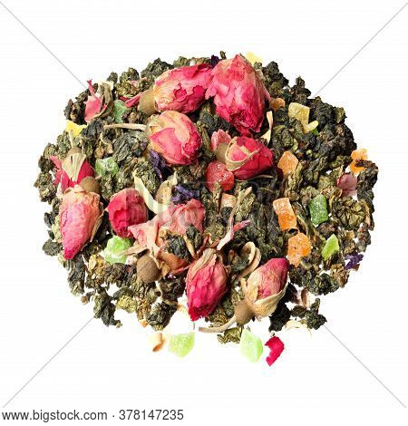 Mixture Herbal Floral Fruit Tea With Petals And Dry Berries.