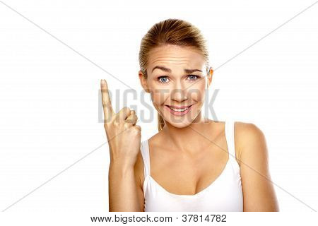 Beautiful Confused Woman Pointing