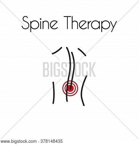Back Pain Linear Icon. Vector Minimal Illustration Of Young Man With Red Spot On The Spine Suffers F