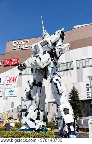 Tokyo, Japan - April 28, 2019, The Unidentified Traveler Look At Rx-0 Unicorn Gundam Statue In Norma