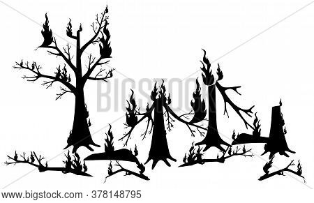 Silhouette Of The Tree In The Fire. Vector Illustration Of Silhouettes Of Burnt Firewood. Burnt Fore