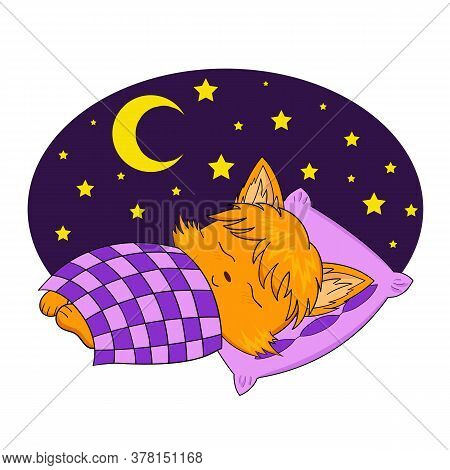 Fox Sleeping. Vector Illustration Of A Sleeping Chanterelle Sticker Under A Blanket.