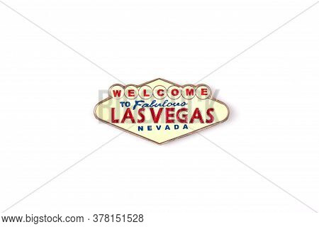 Welcome To Las Vegas Trinket. Isolated On White Background.