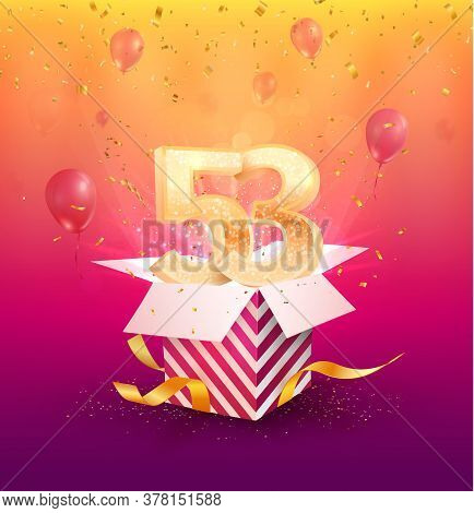 53rd Years Anniversary Vector Design Element. Isolated Fifty-three Years Jubilee With Gift Box, Ball