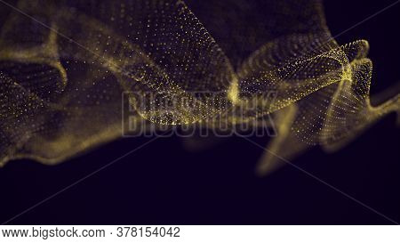 Abstract Shining Gold Wave With Glittering Particles. Shimmering Sparkles Shine, Abstract Magic Brig