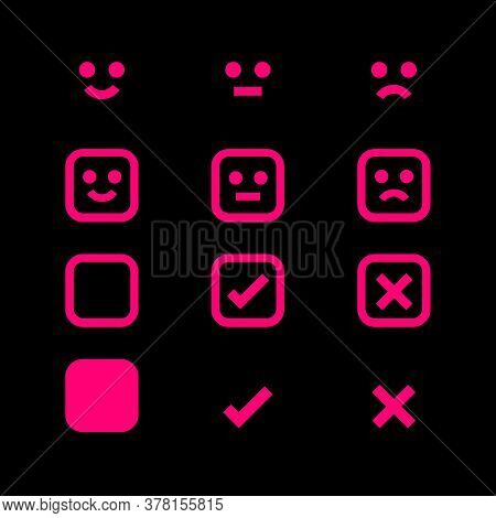 Pink Glowing Icon Emotions Face, Emotional Symbol And Approval Check Sign Button, Emotions Faces And