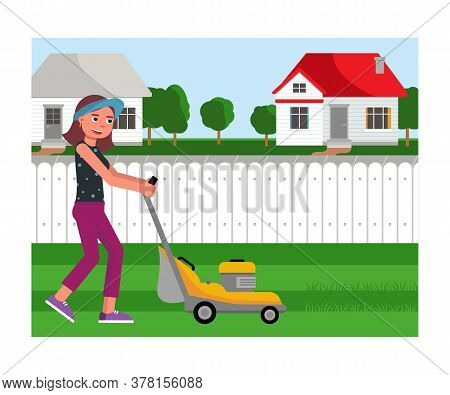Cartoon Friendly Smiling Young Woman Mowing Grass With Lawn Mower On Yard. Gardening And Landscape D