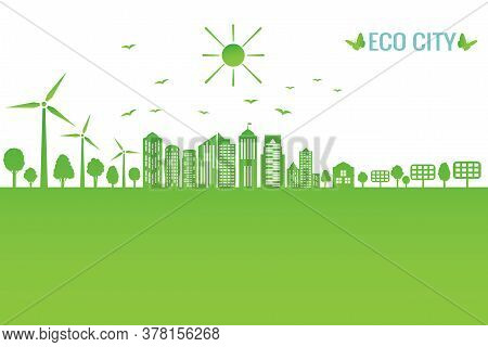 Green City Concept And Environment Conservation. Renewable Energy With A Wind Generators And Solar P