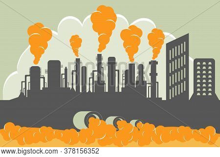 Industrial Production With Harmful Emissions Into The Environment. Wastewater Pollution With Toxic W