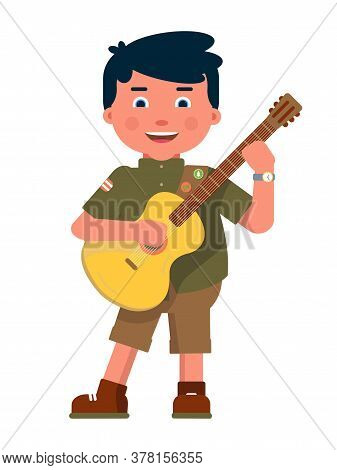 Happy Boy Scout Playing Guitar Isolated On White Background. Cheerful Young Child Tourist Singing So