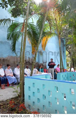 KUMROKHALI, INDIA - FEBRUARY 28, 2020: Mass at the Tomb of the Croatian Missionary, Jesuit Father Ante Gabric on the occasion of his 105th birthday in Kumrokhala, West Bengal, India
