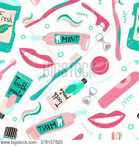 Cleaning Mouth Tools Doodle Seamless Pattern. Toothbrush, Toothpaste And Dental Floss, Hand Drawn Mo
