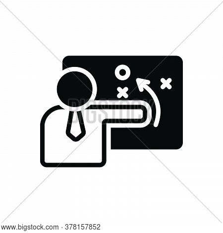Black Solid Icon For Person-explaining-strategy-on-aboard-with-a-sketch Person Explaining Strategy A