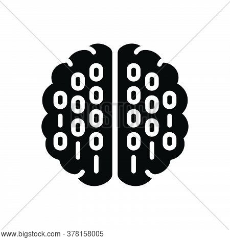 Black Solid Icon For Binary-mind Processor Brain Coding Mind Circuit Programmer Hardware Chip Techno