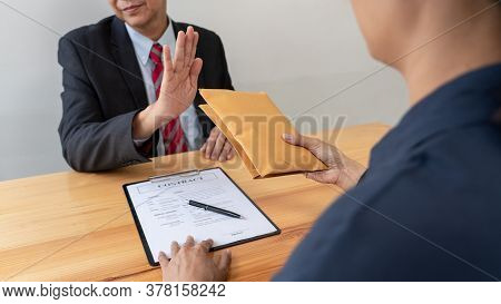Confident Businessman Manager Rejecting An Offer Of Money To Agreement Contract From Partner Or Refu