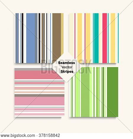 Sailor Stripes Seamless Pattern Set. Autumn Summer Vintage Fashion Print. Funky Fashion Background F
