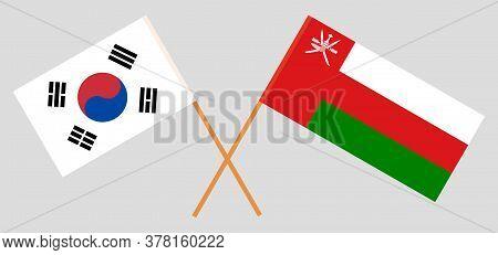 Crossed Flags Of Oman And South Korea. Official Colors. Correct Proportion. Vector Illustration