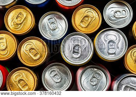 Group Of Aluminium Cans, Cold Drink. Top View.