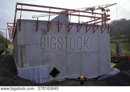 Railing On A Construction Site To Protect Workers From Falling