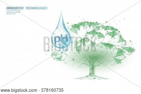 3d Low Poly Plant Ph Watering Concept. Soil Acidity Fertilizers Industrial Horticulture. Ecology Env