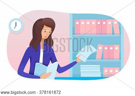 Young Woman Secretary And Paperwork In Office. Girl Assistant Working With Folders And Archives, Tak