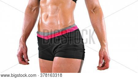 Muscular woman abdomen with strong shape, on white background.
