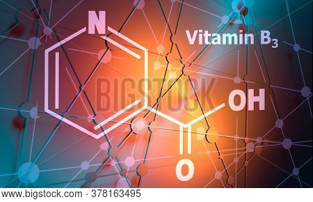 Structural Chemical Formula Of Niacin. Nicotinic Acid Or Vitamin B3. Connected Lines With Dots Backg