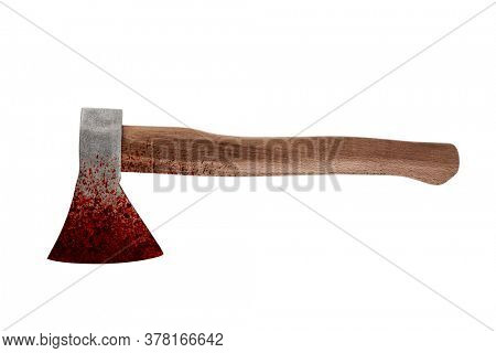Old bloody axe isolated on white background with cliiping path