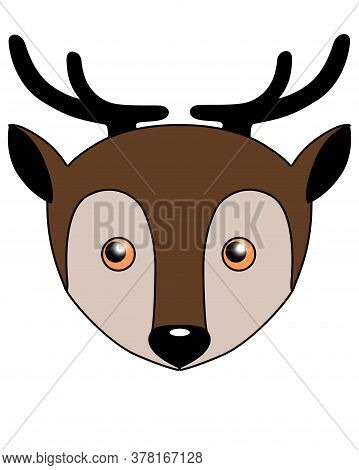 Deer - Vector Cartoon Full Color Illustration. Deer Head - Cute Picture, Smile.