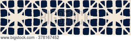 Japanese Tie Dye Seamless Pattern. Elegant Kimono Fabric. Geo Curve Shell Print Premium Japanese Clo