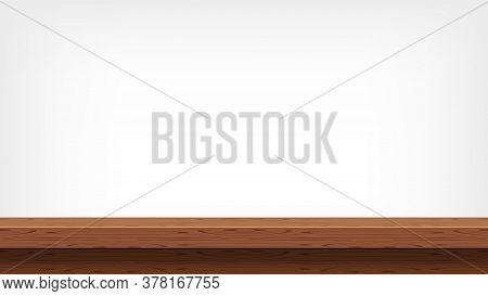 Wood Plank Empty Front View For Background For Copy Space, Blank Table Top Wooden Brown For Decorati