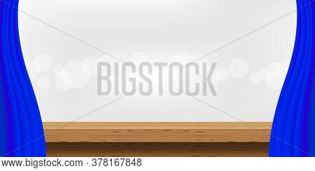 Wood Table And Luxury Blue Curtains For Advertise Product Display, Wooden Top Table Decoration With