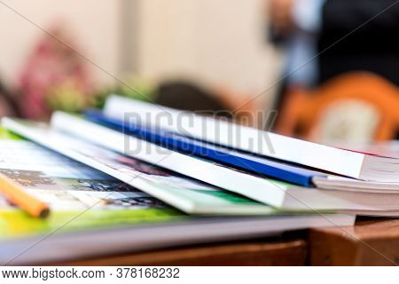 Education Book Report In School, Class Documents Of Binders File Paperwork Document On Teacher Desk