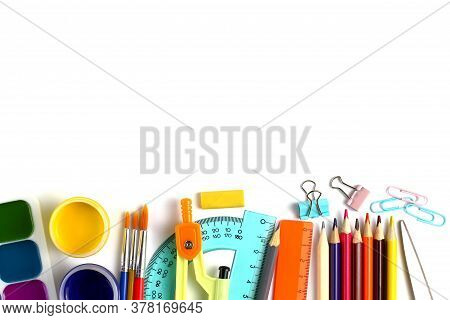 School Supplies On White Background, Pencils, Pens, Rulers. Back To School Or Education Concept. Top