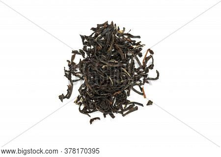 Leaves Of Black Premium Dry Tea On A White Background