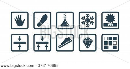 Ceramic Tiles Specification - Characteristics Icons - Pictorgams Set With Wall And Floor Tiles, Thic