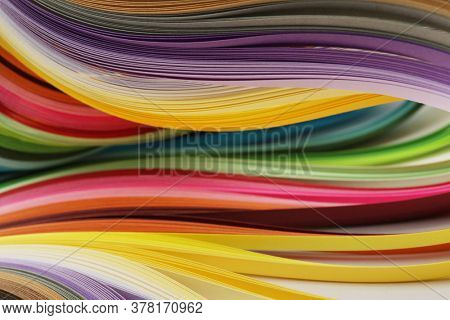 Abstract rainbow color strip wave paper horizontal background.