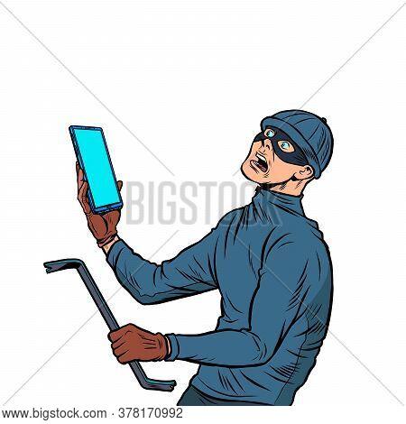 The Masked Robber. Burglar. Pop Art Retro Vector Illustration 50s 60s Style