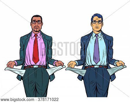 Bankrupt African And Caucasian Businessman. A Man Without Money. Pop Art Retro Vector Illustration K