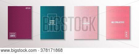 Folded Minimal Cover Vector Set. Cool Technology Wallpaper. Modern Flyer Paper Design. Glam Magazine